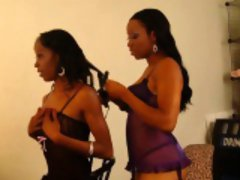 Black lesbian girls in lingerie opens wide their pussies
