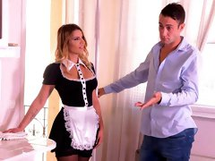 Angelic busty beauty in stockings Angel Rivas is trying DP sex
