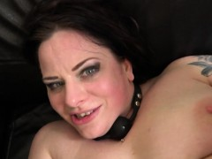 Chubby UK slut jizzed in mouth in BDSM