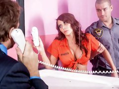 Gorgeous pornstar with big boobs Madison Ivy rides a hard cock in a pink jail