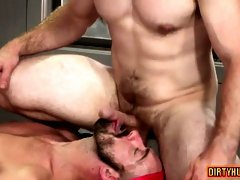 Muscle bear threesome with anal cumshot