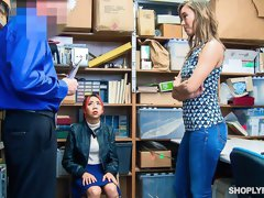 Two shoplifters Kimberly Chi and Christy Love are fucking in the back office