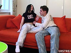 Couch foreplay with horny couple