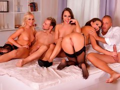 Awesome double penetration with Kiara Lord, Tina Kay and Blue Angel