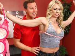 Beautiful busty blonde Briana Banks gets fucked in the cowgirl pose