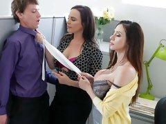 Two glamorous hotties Ariella Ferrera and Dana DeArmond fuck with a young man