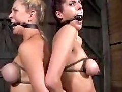 Slave girls Cherie Deville and Lavender Rayne in BDSM threesome