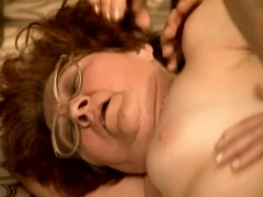 Cock-hungry grandma is eager to feel this young stud's dick inside her