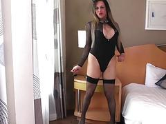 Superb tranny fucks anal with a dildo