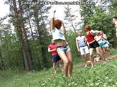 Filthy college sluts turn spree to fuck in the wild