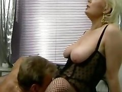 Retro German blonde milf gets her hairy pussy licked in the office