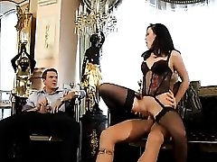 Euro beauty in classy lingerie threesome sex