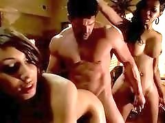 One lusty stud has anal threesome with gorgeous shemale masseuses