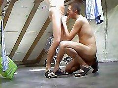 2 Men blow jerking rimming on Attic  Garret  Loft