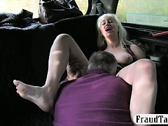 Huge boobs whore banged at the back seat with pervert driver
